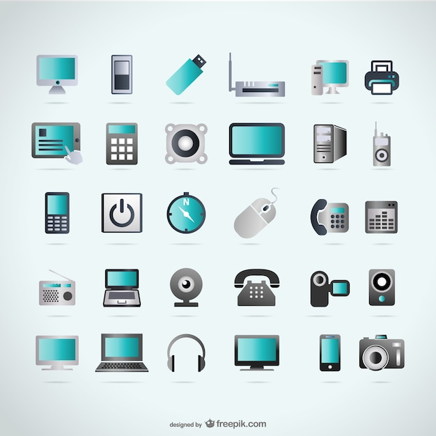 Set of 16 technology icons vector | free download.