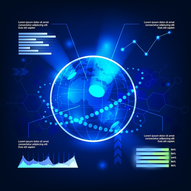 Technology infographics theme Free Vector
