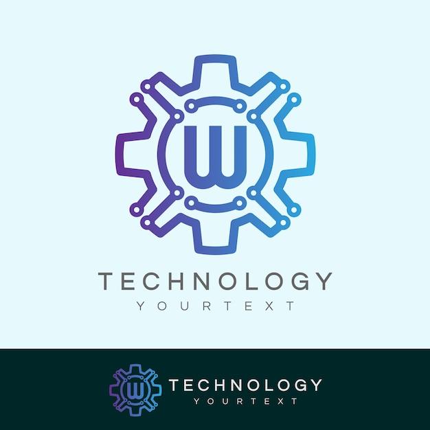 Technology initial letter w logo design Vector   Premium ...