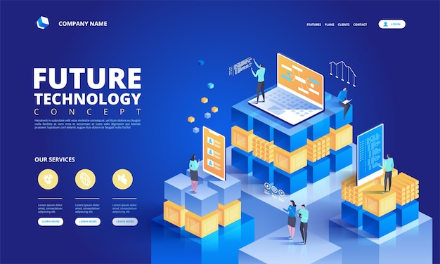 Изометрическая концепция технологии. абстрактная иллюстрация высоких технологий будущего Premium векторы