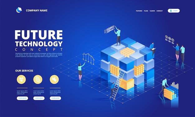 Технология изометрической концепции. абстрактное высокотехнологичное будущее Premium векторы