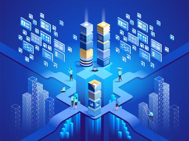 技術等尺性の概念。ソフトウェア、ウェブ開発、プログラミング。図 Premiumベクター