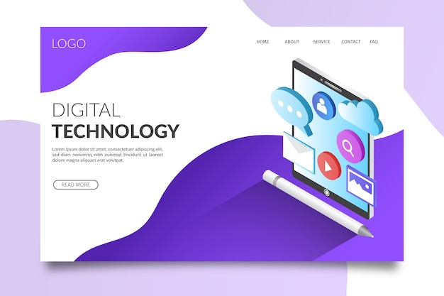 Technology isometric landing page Free Vector