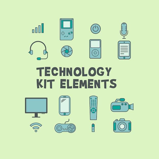 Technology kit elements Free Vector