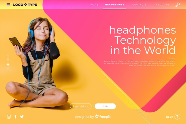Technology landing page template with photo Free Vector
