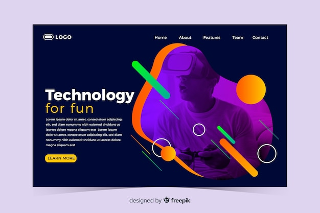Technology landing page with memphis design Free Vector