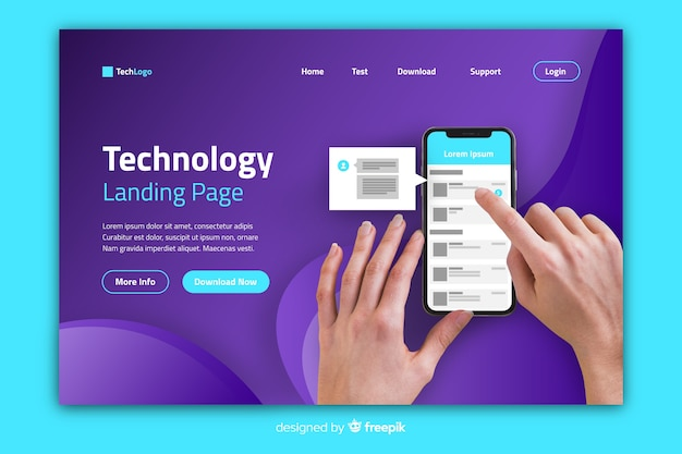 Technology landing page with person scrolling Free Vector
