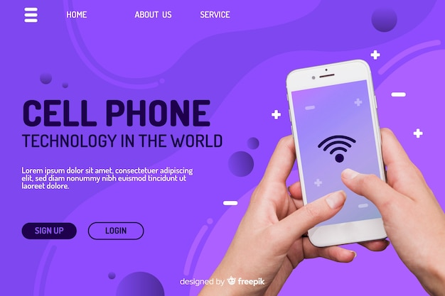 Technology landing page with phone Premium Vector