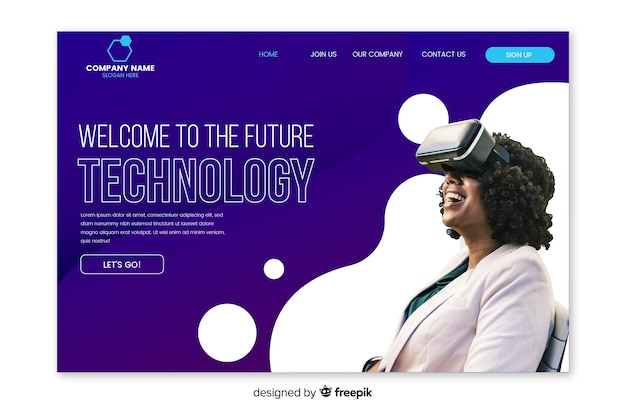 Technology landing page with photo Free Vector