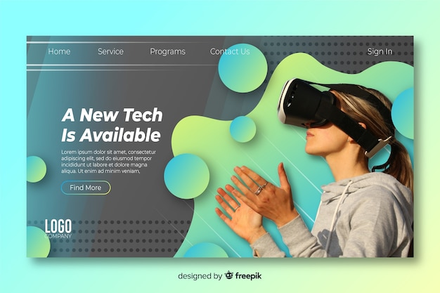 Technology landing page with virtual reality glasses Free Vector