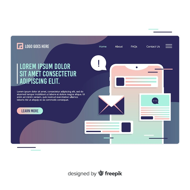 Technology landing page Free Vector