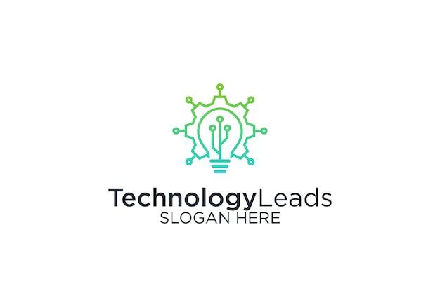 テクノロジーリードのロゴデザインテンプレート Premiumベクター