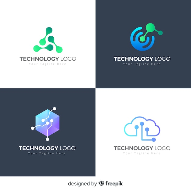 Stile di sfumatura collezione logo tecnologia Vettore gratuito