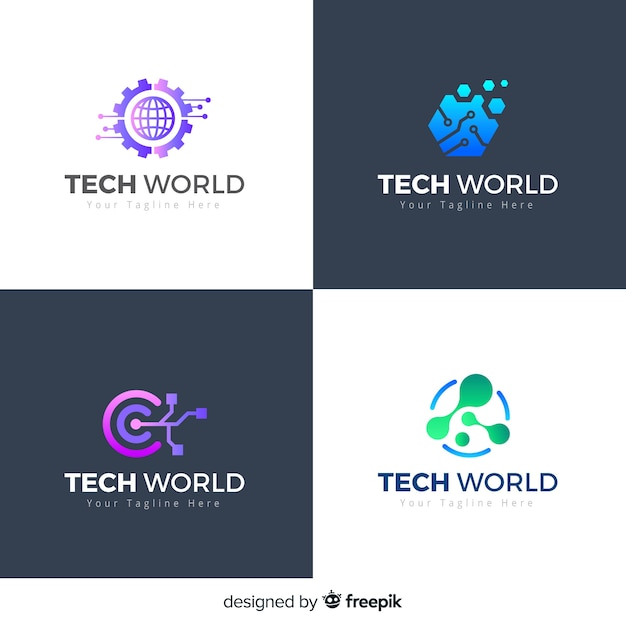 Technology logo collection gradient style Free Vector