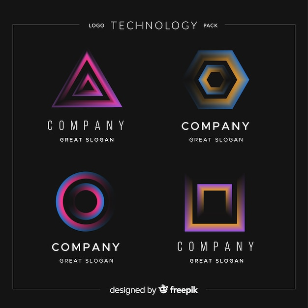 Technology logo collection Free Vector