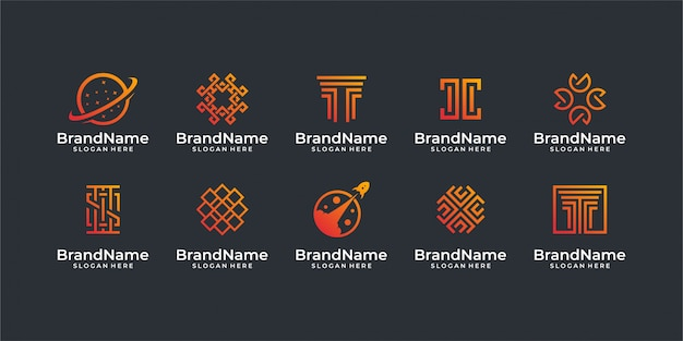 Technology logo. good for logo set, brand, advertising, , business, internet, and business card Premium Vector