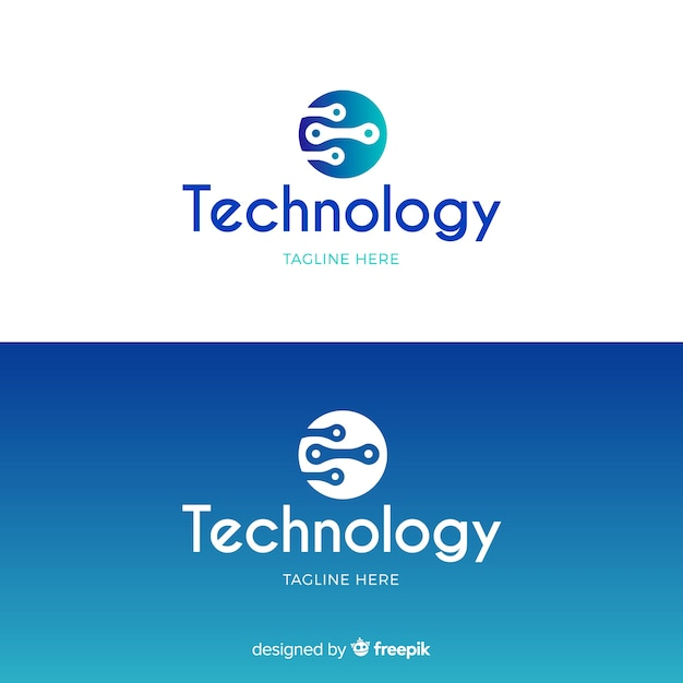 Technology logo in gradient style Free Vector