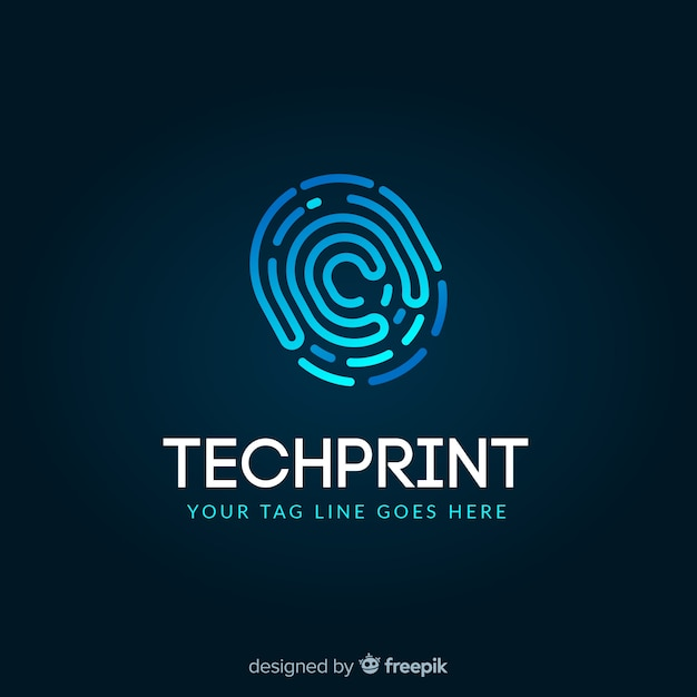 Technology logo template with abstract shapes Free Vector