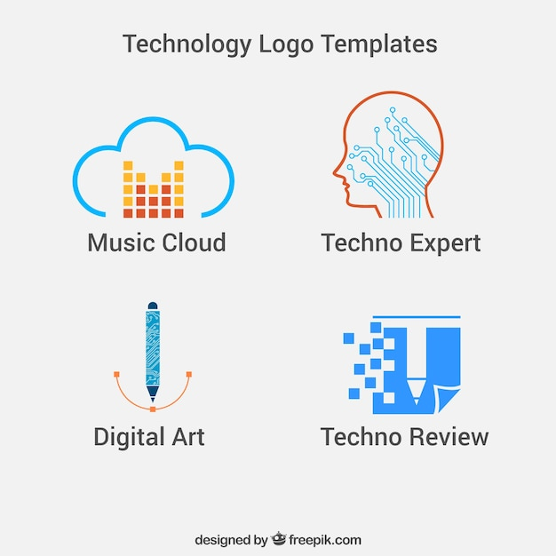 technology logo templates vector free download