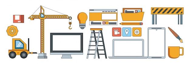 Technology maintenance support website contruction Free Vector