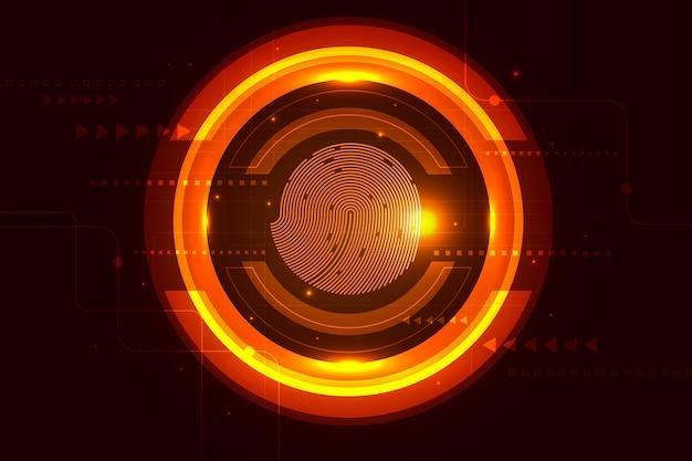Technology neon  fingerprint background Free Vector