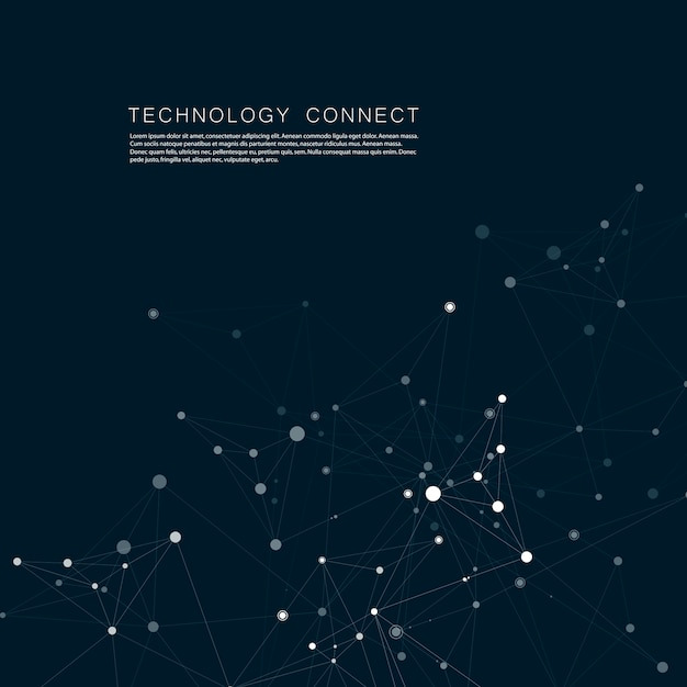 Technology network connect with points and lines. science creative background Premium Vector