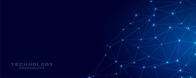 Technology network connection blue mesh banner Free Vector