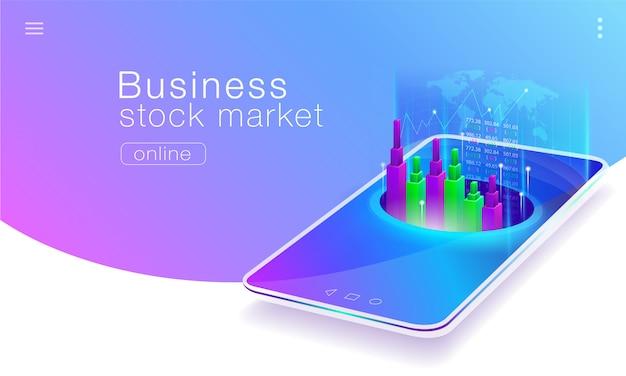 携帯電話のグローバル株式市場ビジネスの技術。 Premiumベクター