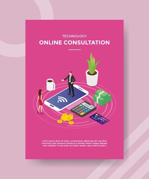 Modello di volantino per consultazione online di tecnologia Vettore gratuito