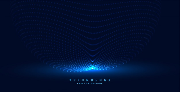 Technology particles background with light source Free Vector