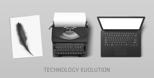 Technology progress from feather to laptop Free Vector