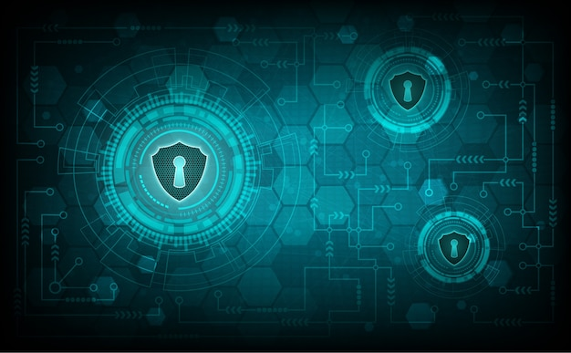 Technology security sytem concept with shield and keyhole Premium Vector
