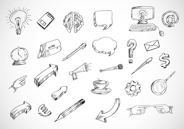 Technology sketch icon set doodle Free Vector