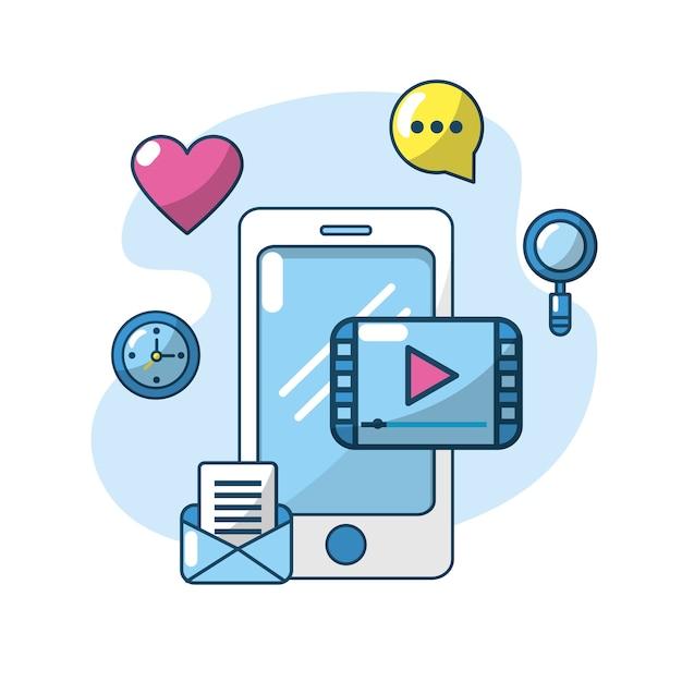 Technology smartphone apps connection server Premium Vector