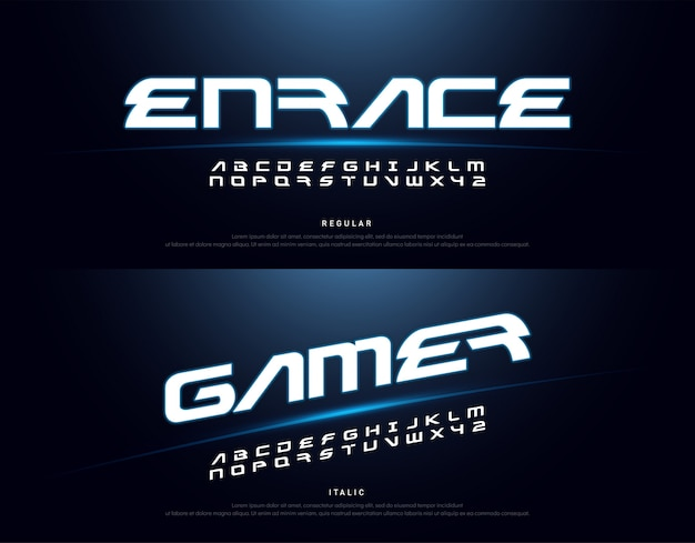 Technology space font and alphabet Premium Vector