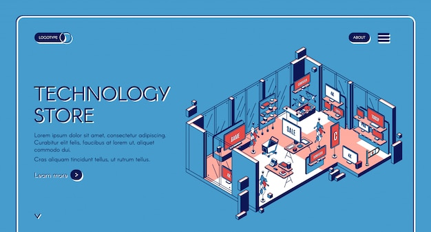Technology store isometric landing page Free Vector