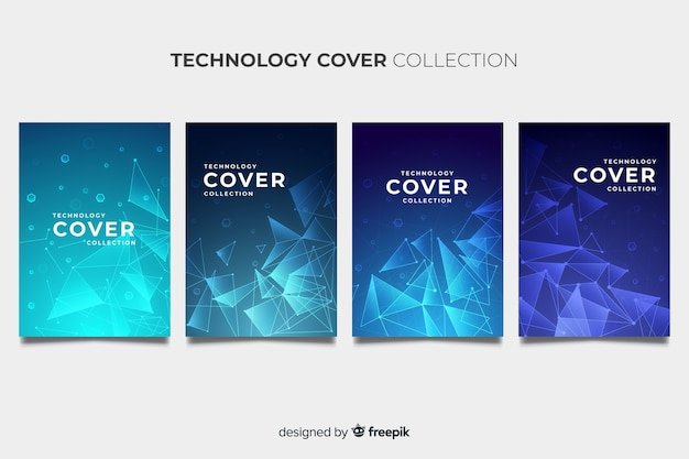 Technology style brochure pack Free Vector