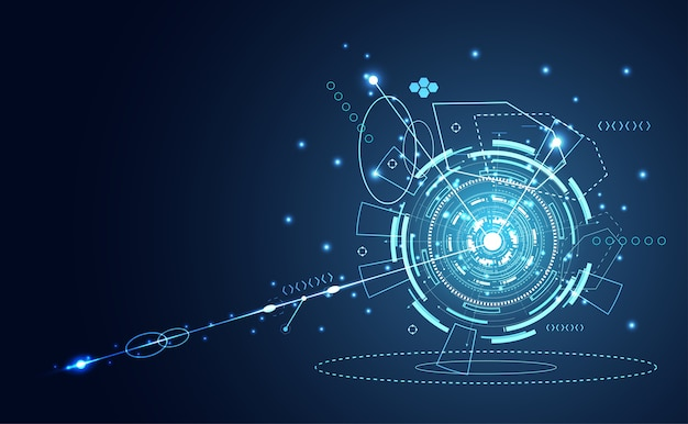 Technology ui futuristic circle hud interface hologram Premium Vector
