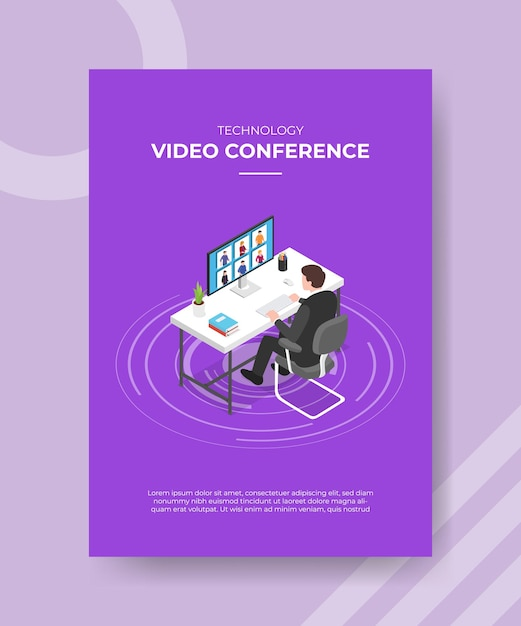 Концепция видеоконференции технологии Бесплатные векторы