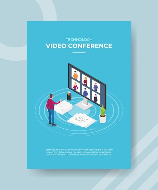디스플레이에 전면 큰 컴퓨터 화면 사람들이 서있는 기술 화상 회의 남자 무료 벡터