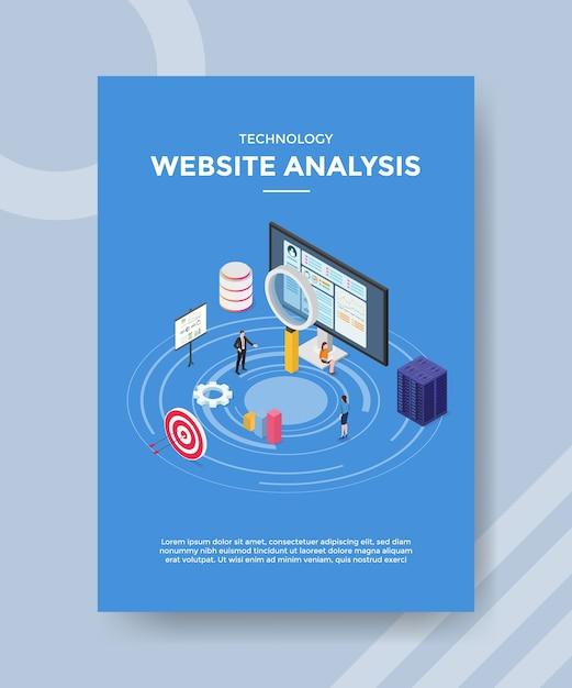 Шаблон флаера с анализом технологического веб-сайта Бесплатные векторы