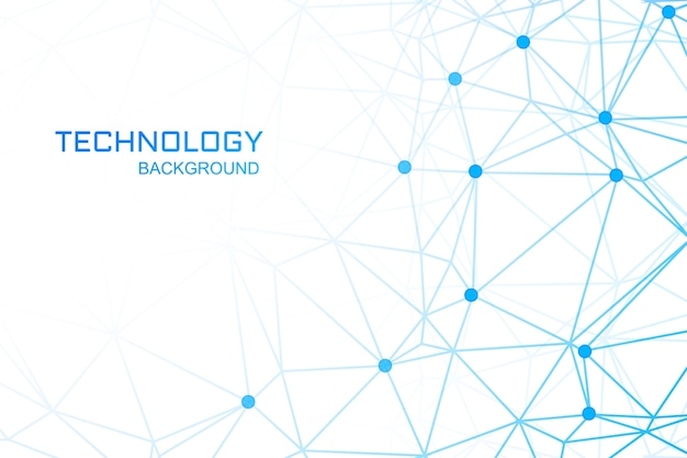 Tecnologia con collegamenti poligonali blu Vettore gratuito