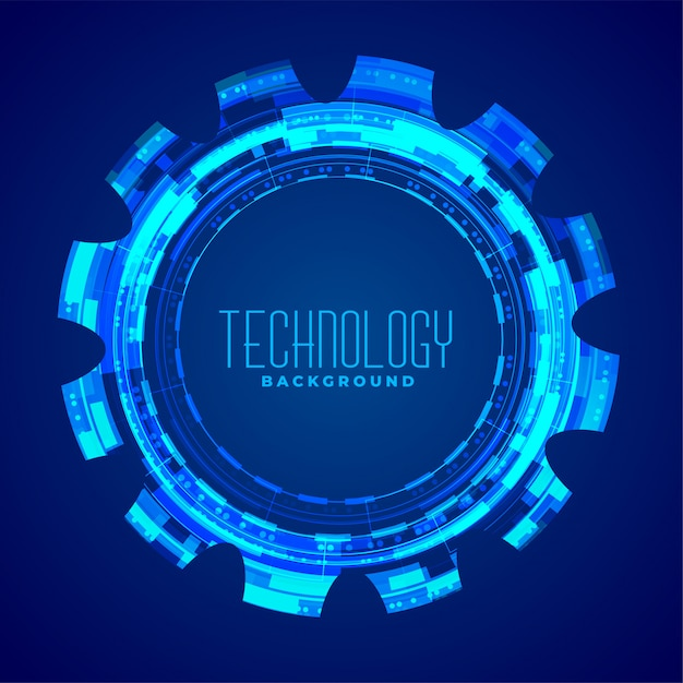 Technology with glowing gear blue design Free Vector