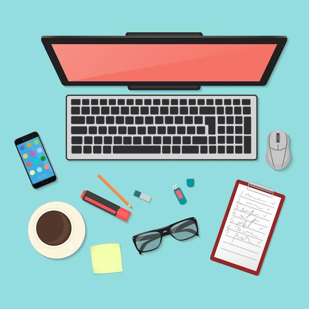 Technology workplace organization top view Premium Vector