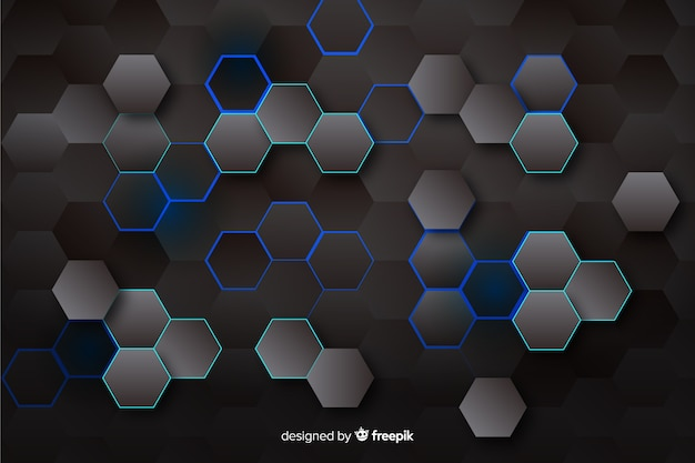 Technologycal hexagonal background in dark colors Free Vector