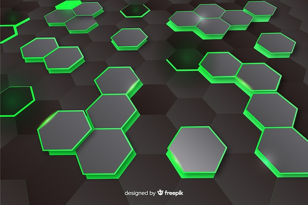 Technologycal hexagonal perspective background Free Vector