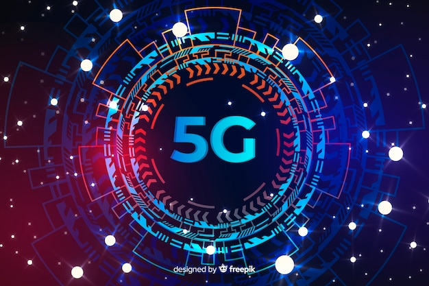 Techologic rounded 5g concept background with dots Free Vector