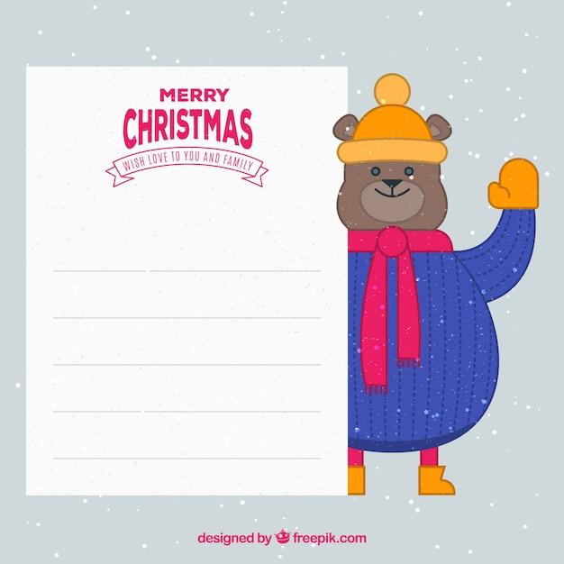Teddy bear background with christmas card