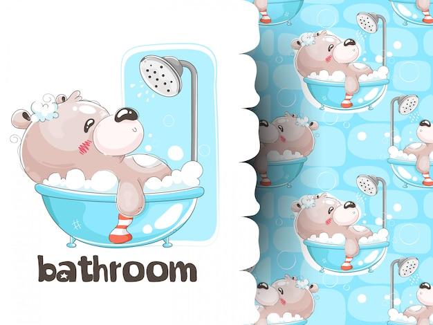 Мишка купается в ванне с рисунком фона Premium векторы