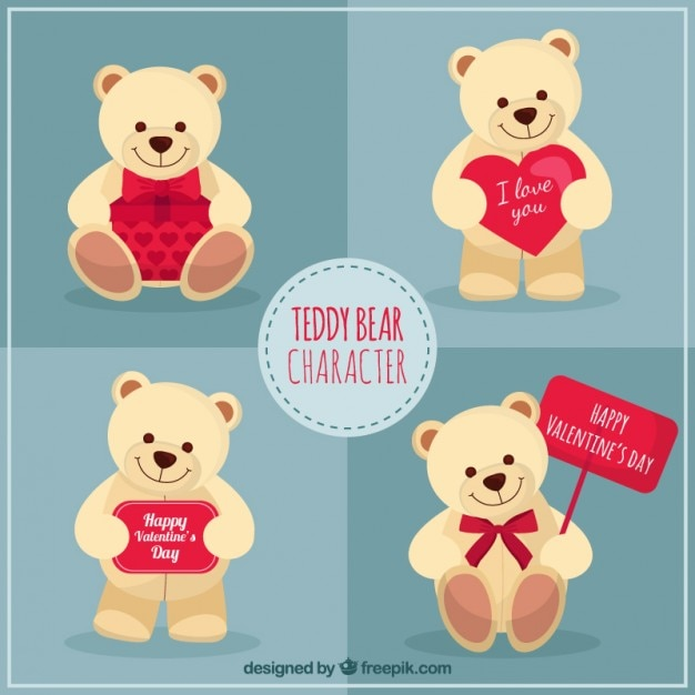 Schön Teddy Bear Character Valentine Day Free Vector